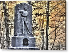 Michigan At Gettysburg - 5th Michigan Infantry Sunrise And Morning Mist In The Rose Woods Acrylic Print by Michael Mazaika