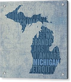 Michigan Great Lake State Word Art On Canvas Acrylic Print by Design Turnpike