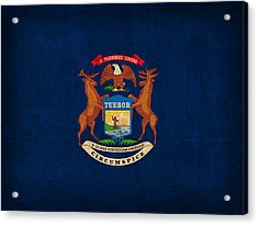 Michigan State Flag Art On Worn Canvas Acrylic Print by Design Turnpike