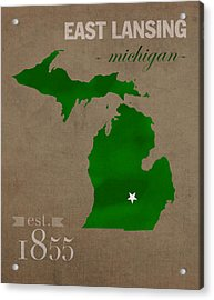 Michigan State University Spartans East Lansing College Town State Map Poster Series No 004 Acrylic Print by Design Turnpike