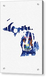 Michigan Typographic Map Flag Acrylic Print by Ayse Deniz