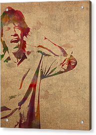 Mick Jagger Rolling Stones Watercolor Portrait On Worn Distressed Canvas Acrylic Print by Design Turnpike