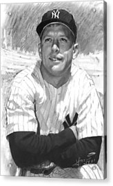Mickey Mantle Acrylic Print by Viola El