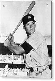 Mickey Mantle At-bat Acrylic Print by Gianfranco Weiss