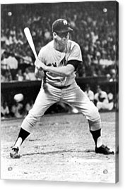 Mickey Mantle At Bat Acrylic Print by Underwood Archives