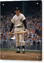 Mickey Mantle In Yankee Stadium Acrylic Print by Retro Images Archive