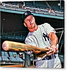 Mickey Mantle Painting Acrylic Print by Florian Rodarte