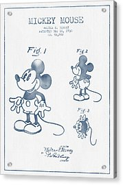Mickey Mouse Patent From 1930 - Blue Ink Acrylic Print by Aged Pixel