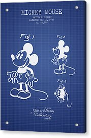 Mickey Mouse Patent From 1930- Blueprint Acrylic Print by Aged Pixel