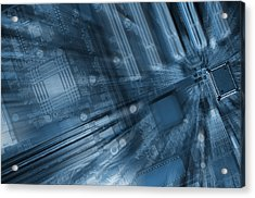 Microchips And Computers Acrylic Print by Christian Lagereek