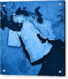 Middle East Topographic Map Acrylic Print by Frank Ramspott