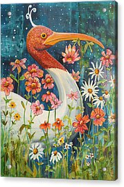 Midnight Stork Walk Acrylic Print by Blenda Studio