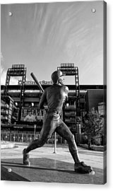 Mike Schmidt Statue In Black And White Acrylic Print by Bill Cannon