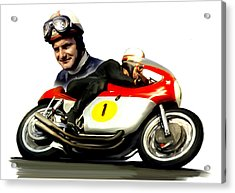 Mike The Bike  Mike Hailwood Acrylic Print by Iconic Images Art Gallery David Pucciarelli