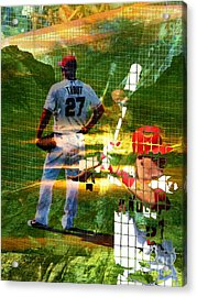 Mike Trout Acrylic Print by Robert Ball