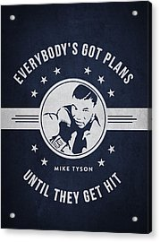 Mike Tyson - Navy Blue Acrylic Print by Aged Pixel