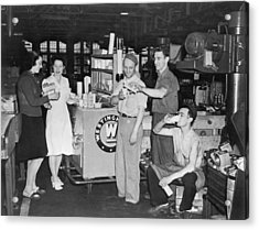 Milk Break For War Workers Acrylic Print by Underwood Archives