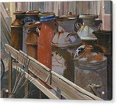 Milk Cans Acrylic Print by John Wyckoff