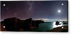 Milky Way And Moon Over Reservoir Acrylic Print by Luis Argerich