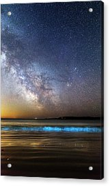 Milky Way Over Bioluminescent Plankton Acrylic Print by Laurent Laveder