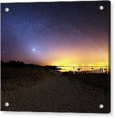 Milky Way Over The Coast Acrylic Print by Laurent Laveder