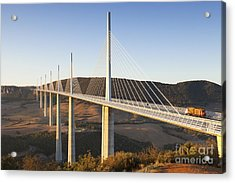 Millau Viaduct At Sunrise Midi Pyrenees France Acrylic Print by Colin and Linda McKie