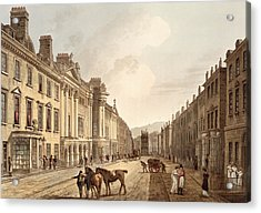 Milsom Street, From Bath Illustrated Acrylic Print by John Claude Nattes
