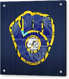 Milwaukee Brewers Vintage Baseball Team Logo Recycled Wisconsin License Plate Art Acrylic Print by Design Turnpike