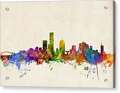 Milwaukee Wisconsin Skyline Acrylic Print by Michael Tompsett