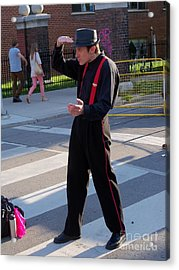 Mime Performer On The Street Acrylic Print by Lingfai Leung