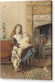 Minding Baby Acrylic Print by George Goodwin Kilburne