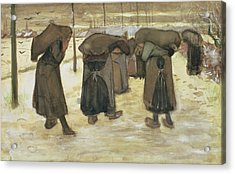 Miners Wives Carrying Sacks Of Coal Acrylic Print by Vincent van Gogh