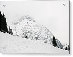 Minimalist Snow Landscape - Mountain And Trees In Winter Acrylic Print by Matthias Hauser