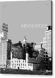 Minneapolis Skyline Mill City Museum - Silver Acrylic Print by DB Artist