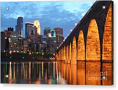 Minneapolis Skyline Photography Stone Arch Bridge Acrylic Print by Wayne Moran