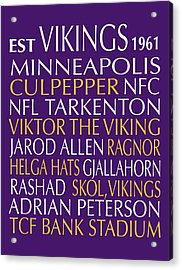 Minnesota Vikings Acrylic Print by Jaime Friedman
