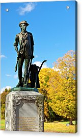 Minuteman Statue In Autumn At Old North Acrylic Print by Brian Jannsen