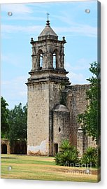 Mission San Jose Steeple Tower In San Antonio Missions National Historical Park Acrylic Print by Shawn O'Brien