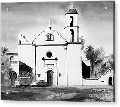 Mission San Luis Rey Bw Blue Acrylic Print by Kip DeVore