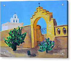Acrylic Print featuring the painting Mission San Xavier by Rodney Campbell