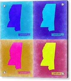 Mississippi Pop Art Map 2 Acrylic Print by Naxart Studio