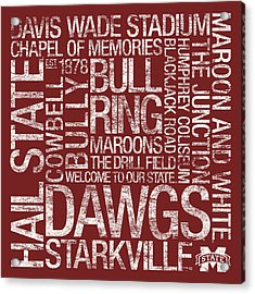 Mississippi State College Colors Subway Art Acrylic Print by Replay Photos