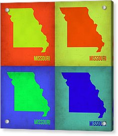 Missouri Pop Art Map 1 Acrylic Print by Naxart Studio