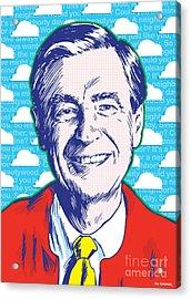 Mister Rogers Pop Art Acrylic Print by Jim Zahniser