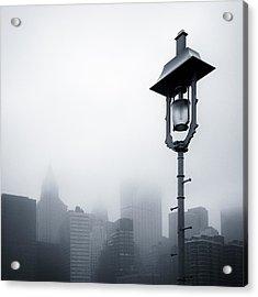 Misty City Acrylic Print by Dave Bowman
