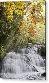 Misty Falls At Coker Creek Acrylic Print by Debra and Dave Vanderlaan