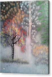 Misty Magic Forest Acrylic Print by Lee Bowman