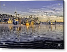 Misty Morning At The Docks Acrylic Print by Evan Spellman