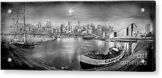 Misty Morning Harbour - Bw Acrylic Print by Az Jackson
