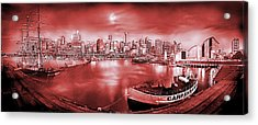Misty Morning Harbour - Red Acrylic Print by Az Jackson
